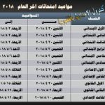جدول امتحانات الصف الخامس الإبتدائي الترم الثاني 2019