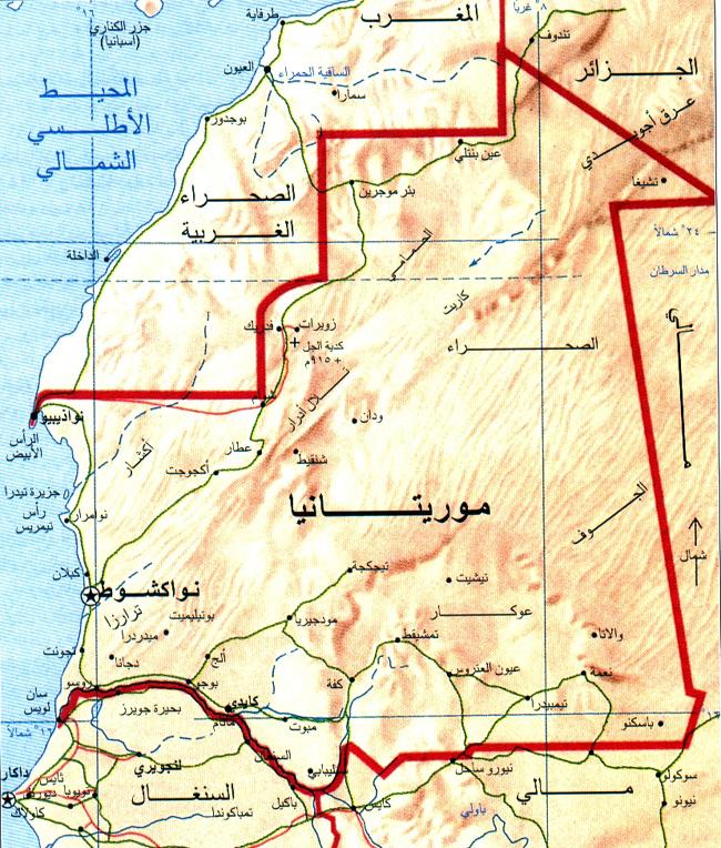 ماهي حدود دولة موريتانيا