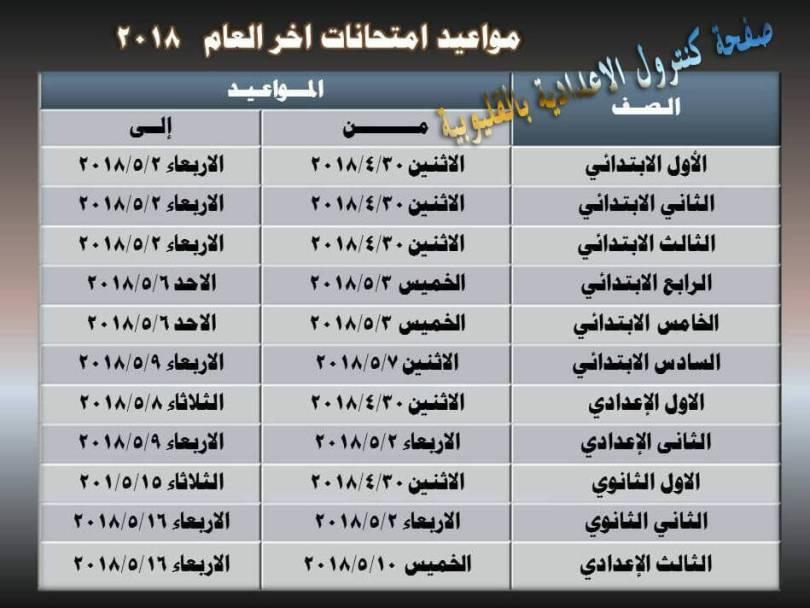 جدول امتحانات الصف الثاني الابتدائي الترم الثاني 2019